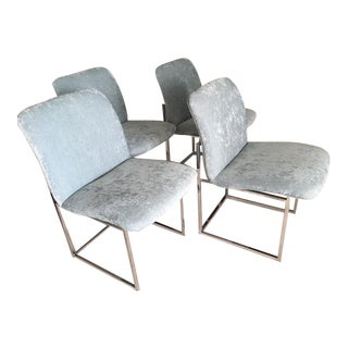1970's Vintage Milo Baughman Chrome Frame Mid Century Modern Chairs - Set of 4 For Sale