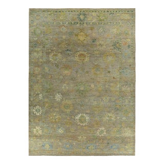 New Turkish Oushak Rug With Green & Yellow Floral Design on a Brown Field For Sale