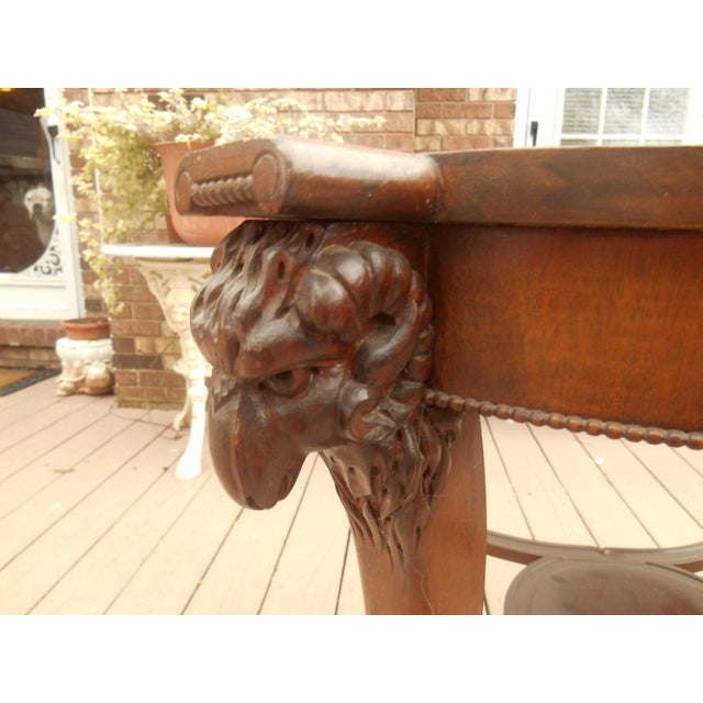Victorian/Gothic Carved Ram's Head Lamp Table - Image 4 of 6