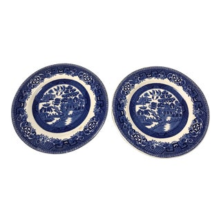 Alfred Meakin Blue and White Old Willow Plates Saucers - a Pair For Sale