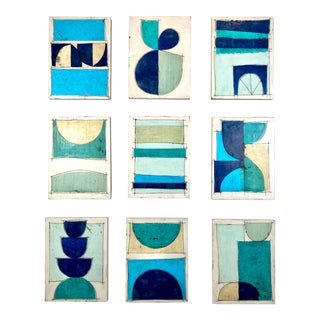 """""""Mermaid's Crush"""" Encaustic Collage Installation by Gina Cochran - 9 Pieces For Sale"""