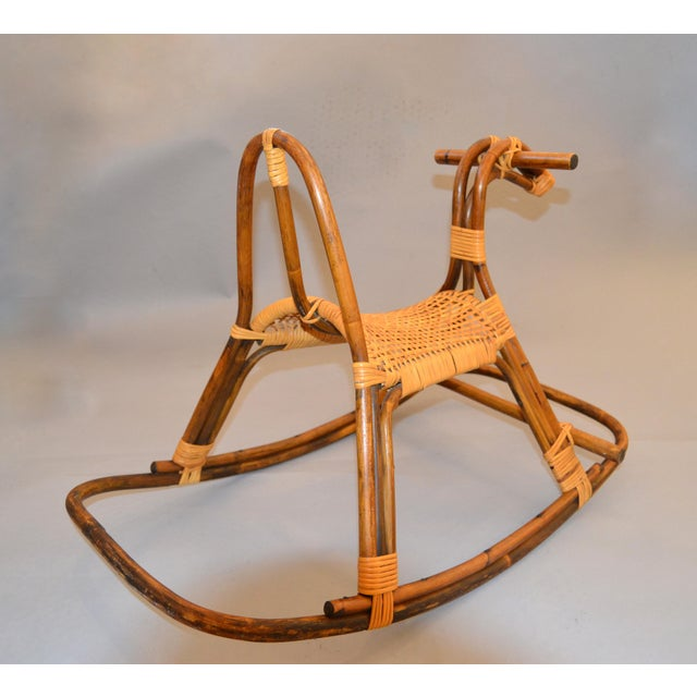 Tan 1960s Rattan and Bamboo Rocking Horse Sculpture Inspired by Franco Albini For Sale - Image 8 of 13
