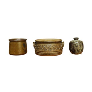 Green & Brown Studio Pottery - Set of 3 For Sale