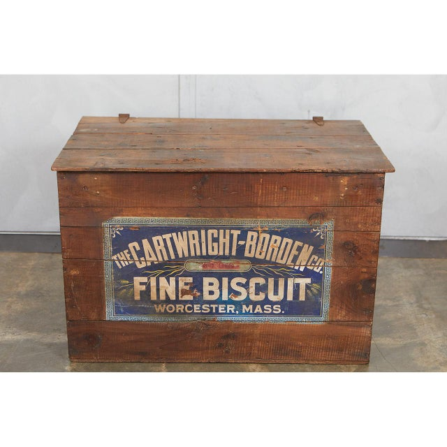 """This large crate with Advertising for """"Fine Biscuits"""" has great character and charm. The paper printed labels are in good..."""