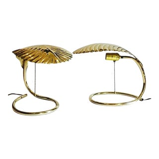 Mid Century Modern Palm Front Lamps Barbi Style Cobra Bedside Table Lamps - A PAIR For Sale
