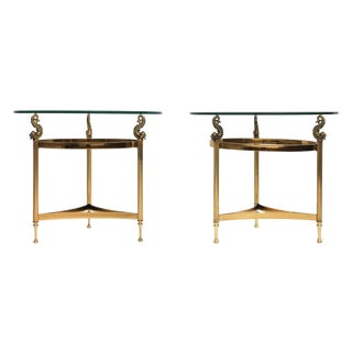 DIA Brass & Glass Side Tables - A Pair For Sale