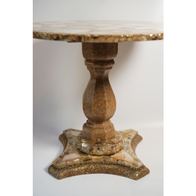 Hollywood Regency Arturo Pani Onyx Abalone Shell Gold Glitter Side Table For Sale - Image 3 of 10