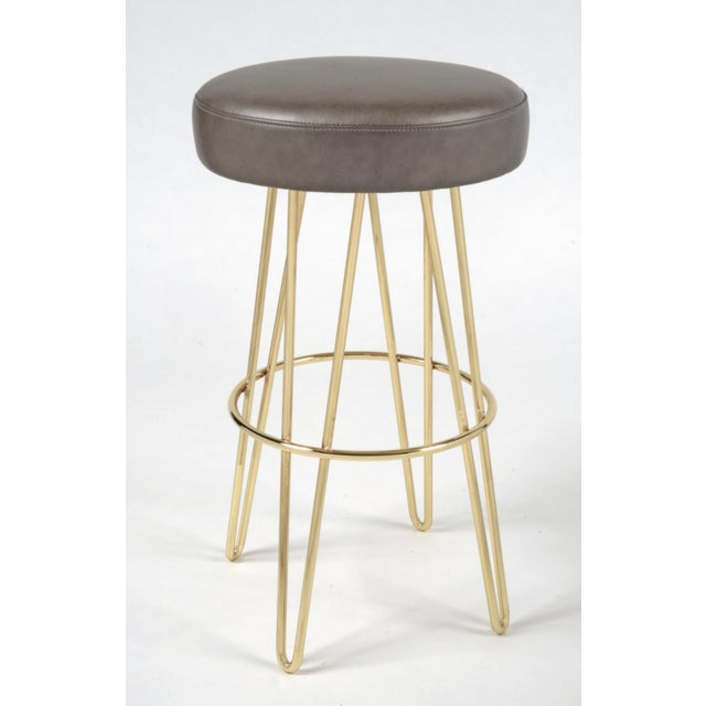 Modern Brass Mushroom & Leather Hairpin Swivel Barstool For Sale - Image 3 of 3