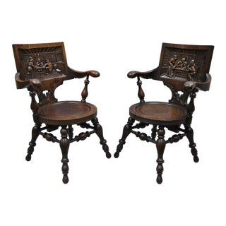 Antique German Carved Tiger Oak Drunken Monks Tavern Pub Arm Chairs - a Pair For Sale