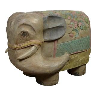 1980s Vintage Wood Elephant Stool For Sale