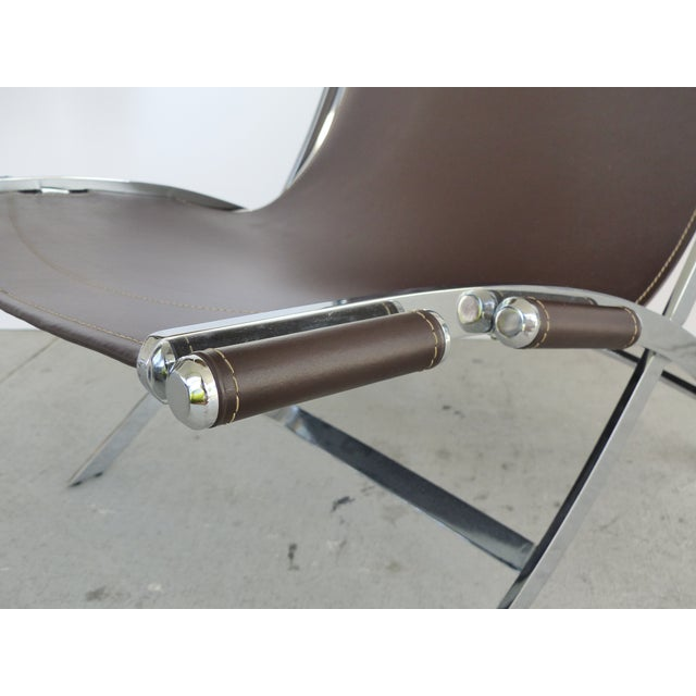Paul Tuttle, Antonio Citterio for Flexform Italia Scissor Chairs in Stainless Steel & Leather-A Pair For Sale - Image 9 of 13