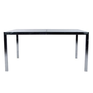 Milo Baughman Chrome & Glass Expandable Dining Table For Sale