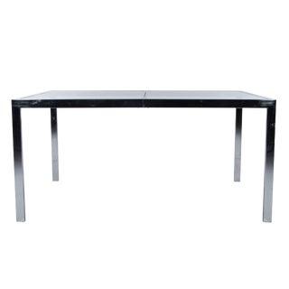 Milo Baughman Chrome & Glass Expandable Dining Table