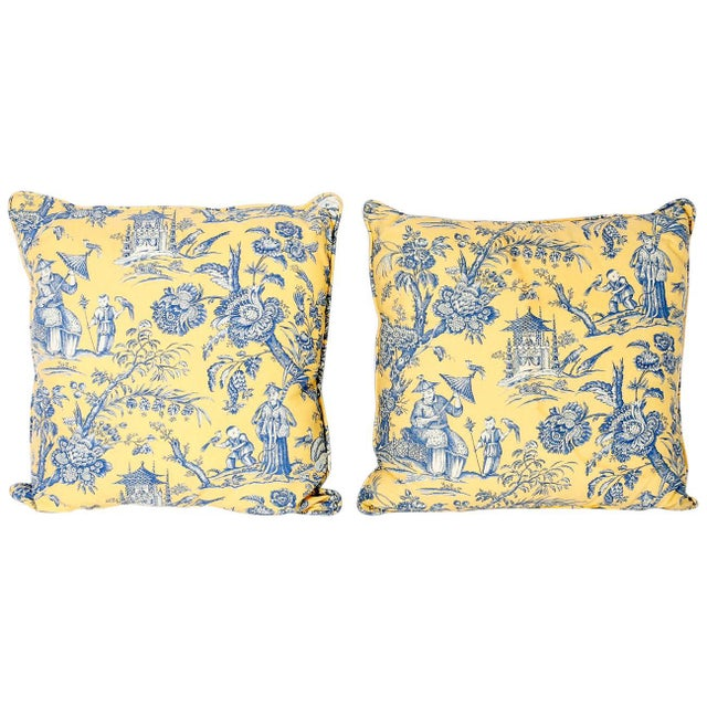 Yellow French Toile Style Linen Pillows - A Pair For Sale - Image 8 of 8