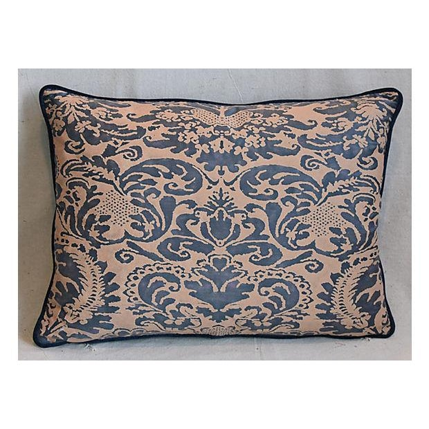 "Blue Italian Mariano Fortuny Corone Feather/Down Pillows 24"" x 18"" - Pair For Sale - Image 8 of 11"