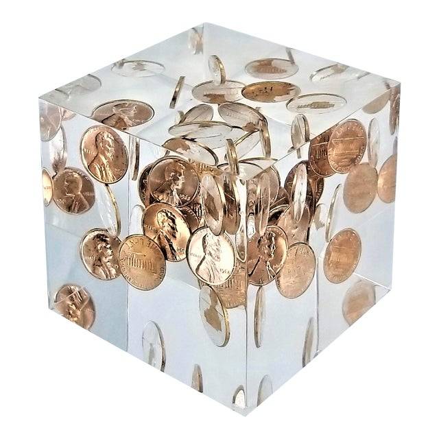 Pop Art Mid Century Modern Lucite Sculpture of Pennies Dated 1970 - Andy Warhol Abstract Surrealism Palm Beach Boho Chic For Sale