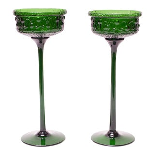 Pair of Tall Stelvia Emerald Blown-Glass Stemmed Compotes Designed by Wayne Husted For Sale