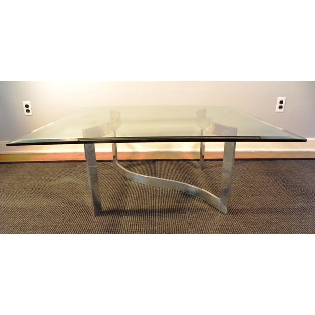 Milo Baughman Style Glass and Chrome Table - Image 2 of 9
