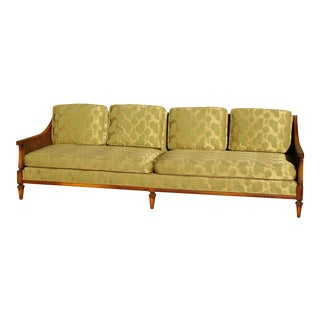 Mid-Century Double Cane & Silk Upholstered Sofa For Sale