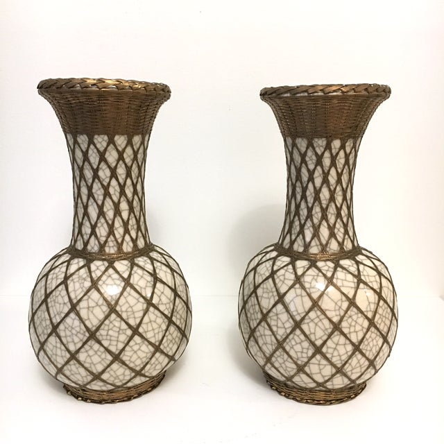 Japanese Pottery Vases With Brass Details - A Pair - Image 9 of 9