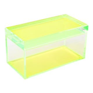 Chartreuse and Yellow Lucite Signed Box by Alexandra Von Furstenberg For Sale