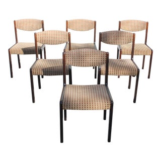 1940s Vintage French Art Deco Modern Solid Mahogany Dining Chairs- Set of 6 For Sale