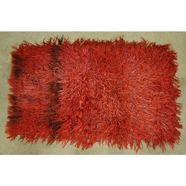 Circa 1960 Vintage Turkish Angora Red Long Pile Tulu Rug For Sale - Image 4 of 7