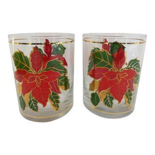 Culver Poinsettia Glasses - A Pair For Sale