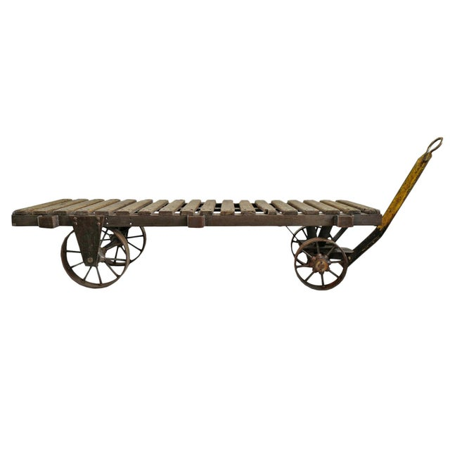Rustic Industrial Factory Cart For Sale - Image 3 of 3