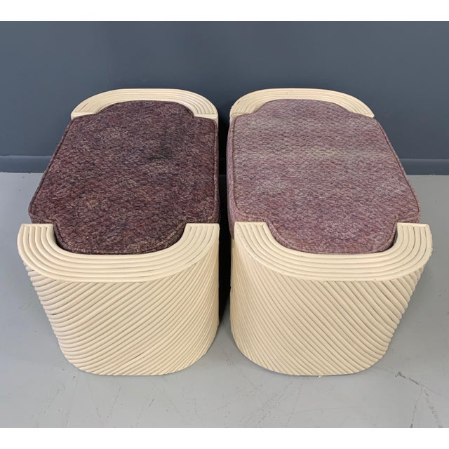 Mid-Century Split Reed Bamboo Upholstered Benches- A Pair For Sale - Image 9 of 10