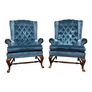 Vintage Blue Tufted Queen Anne Style Wing Back Chairs With Nailhead Trim - a Pair