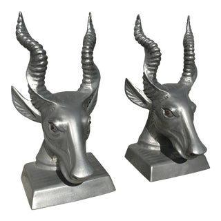 Silver Antelope Bookends - A Pair