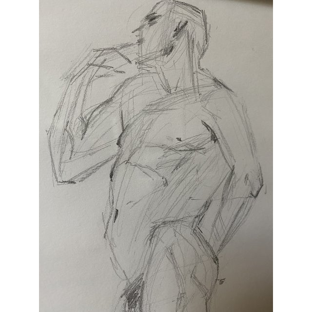 Vintage Nude Figure, Graphite on Paper, Signed Sfb For Sale - Image 4 of 7