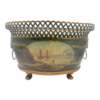 20th Century Antique French Painted Scenic Tole Planter With Lion Head Pulls For Sale