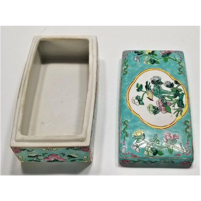 Vintage Light Blue Chinese Famille Rose Porcelain Box With Flowers and Phoenix - Asian Oriental Palm Beach Boho Chic Mid Century For Sale - Image 10 of 12