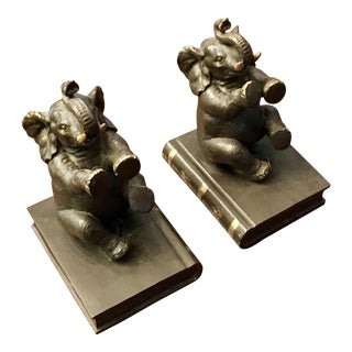 1970s Elephant Bookends - A Pair For Sale