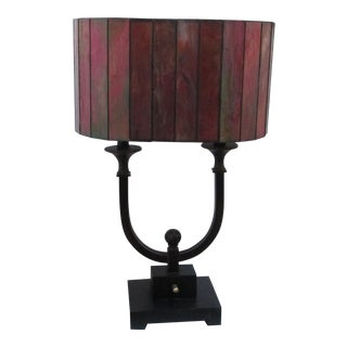 Stained Glass Drum Shade Black Bronze Table Lamp For Sale