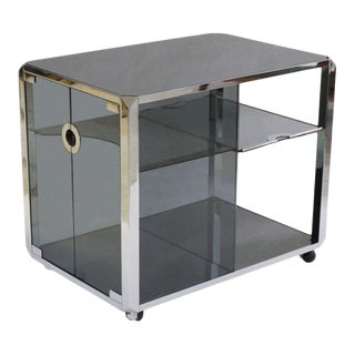 Mario Sabot Chrome and Glass Bar Cart For Sale