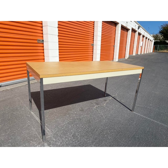 1980''s vintage steelcase metal desk table was used as a teachers desk at a school in Berkeley California very sturdy and...