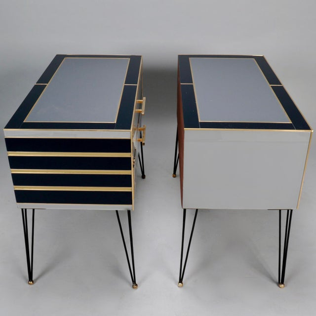 Italian Two-Drawer Cabinets with Murano Glass and Brass Inlays - A Pair - Image 4 of 11