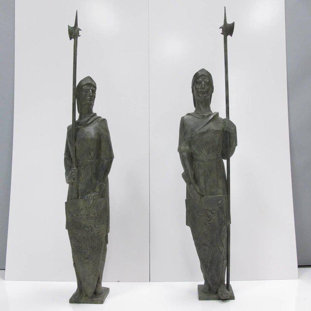 French Life-Size Bronze Statues Sculpture Middle Ages Knight in Armor, a Pair - Image 2 of 11