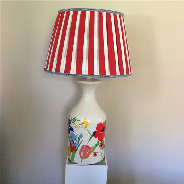 Mid-Century Floral Lamp With Red Custom Shade - Image 2 of 9