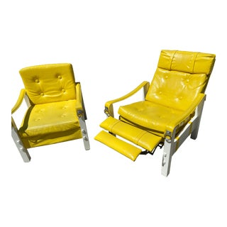 Mid Century Milo Baughman Style Vinyl Recliner & Chairs - a Pair For Sale