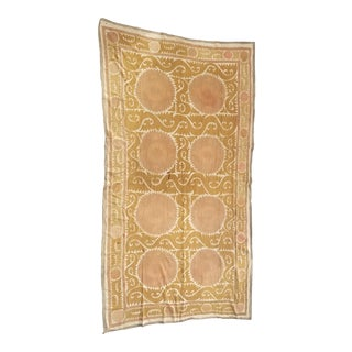 Antique Neutral Color Suzani Bed Cover Throw Rug For Sale