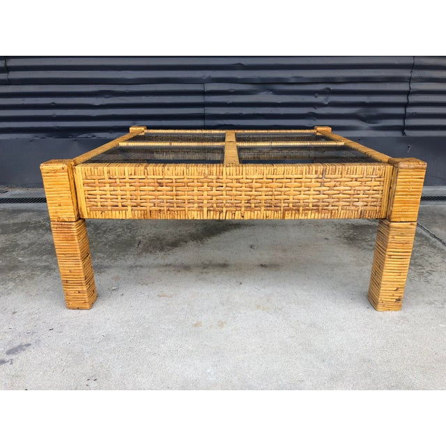 Vintage Wrapped Rattan Billy Baldwin Style Coffee Table For Sale - Image 12 of 13