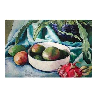 "Neicy Frey ""Mangoes & Dragonfruit"" Original Still Life Painting"