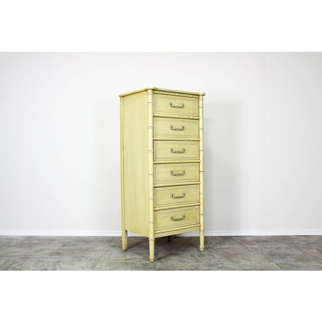 Mid Century Canary Yellow Faux Bamboo Lingerie Chest For Sale In Miami - Image 6 of 7