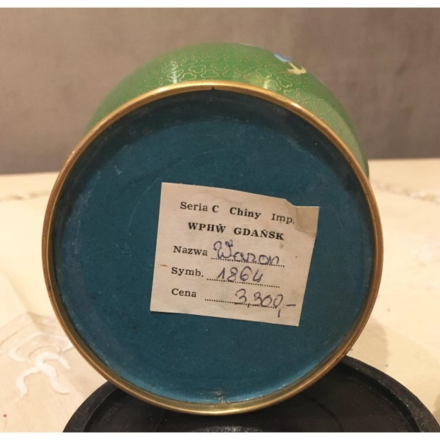 Green & Blue Floral Cloisonne Vases - A Pair - Image 8 of 8