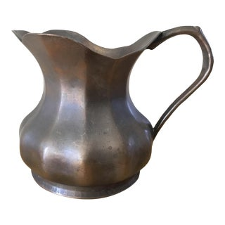 Midcentury Italian Copper Metal Pitcher For Sale