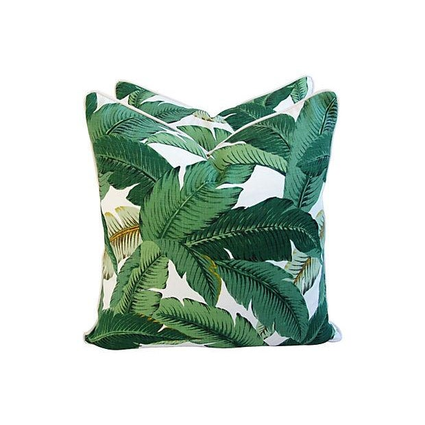 "Late 20th Century Beverly Hills Iconic Banana Leaf Feather/Down Pillows 24"" Square - Pair For Sale - Image 5 of 7"